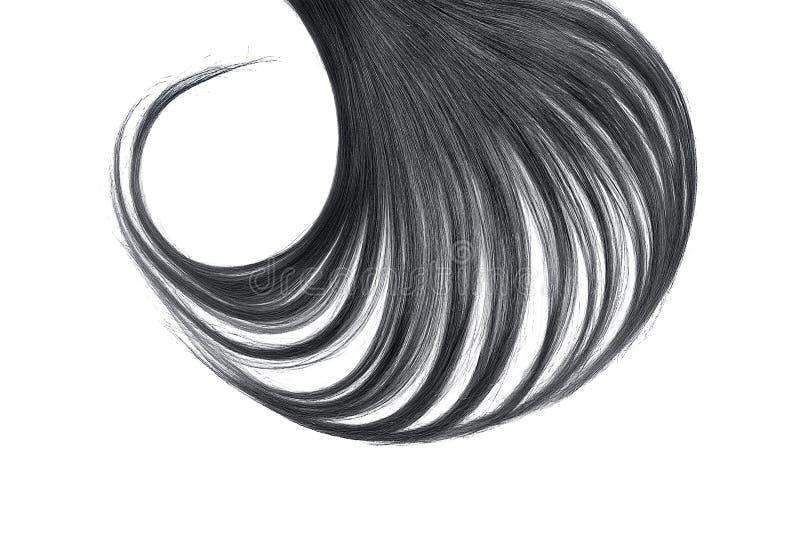 Cabelo preto luxúria isolado no fundo branco imagem de stock royalty free