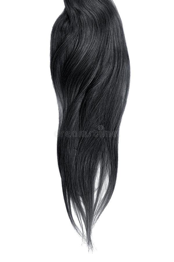Cabelo preto luxúria isolado no fundo branco fotografia de stock