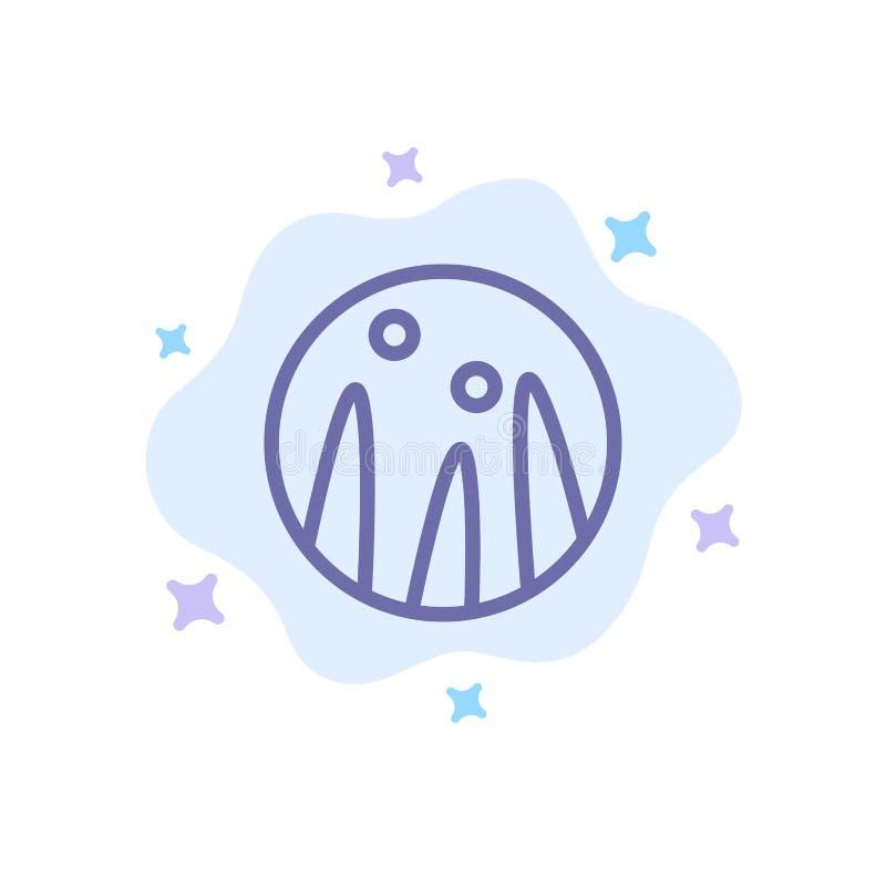 Cabelo que condiciona, terapia do cabelo, ícone azul do tratamento do cabelo no fundo abstrato da nuvem ilustração stock