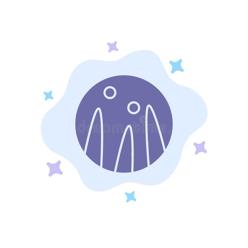 Cabelo que condiciona, terapia do cabelo, ícone azul do tratamento do cabelo no fundo abstrato da nuvem ilustração royalty free