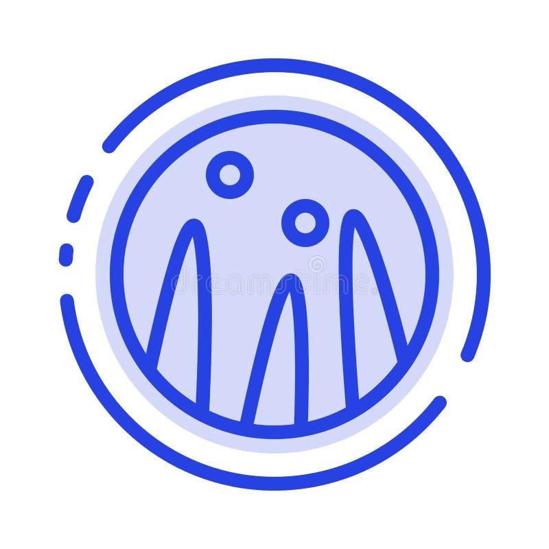 Cabelo que condiciona, terapia do cabelo, linha pontilhada azul linha ícone do tratamento do cabelo ilustração stock
