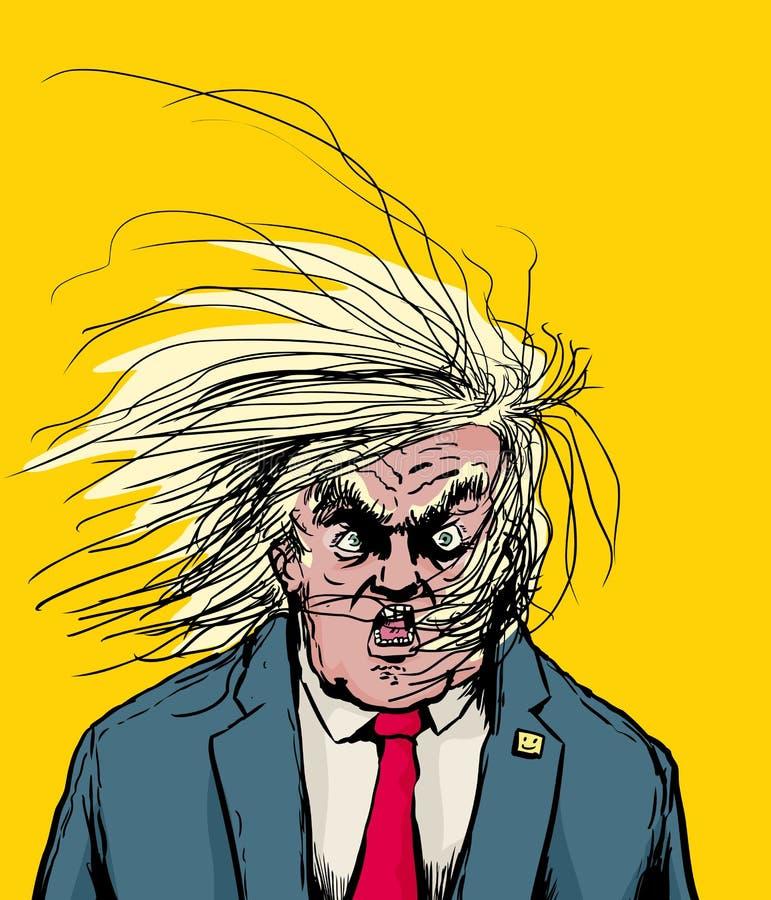 Cabelo que funde em face de Donald Trump irritado ilustração do vetor