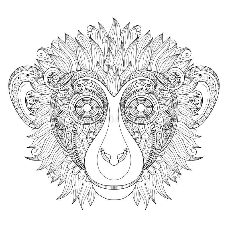 Cabeza adornada del mono del vector ilustración del vector