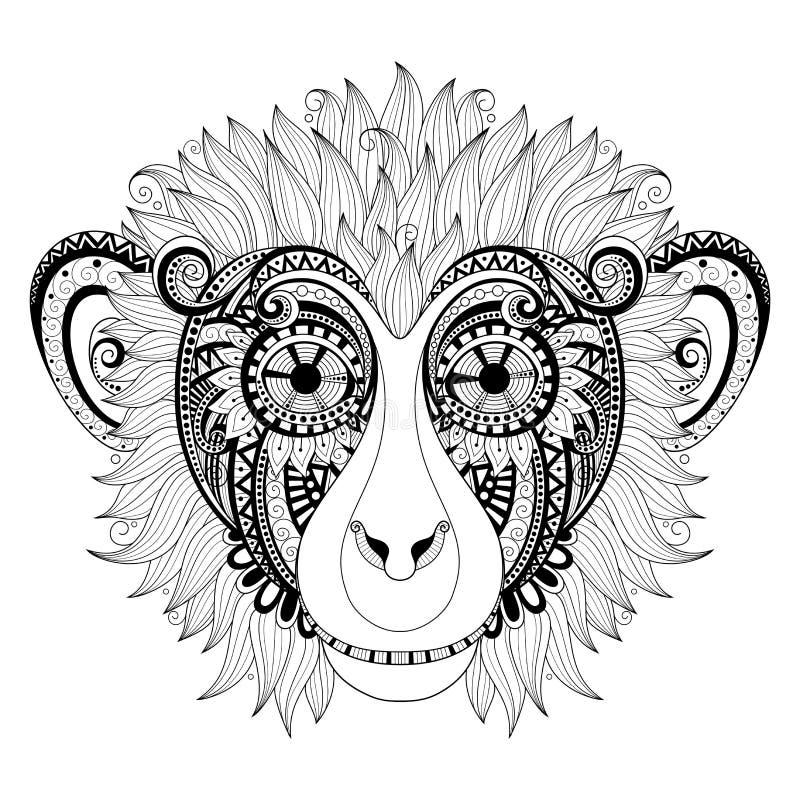 Cabeza adornada del mono del vector stock de ilustración