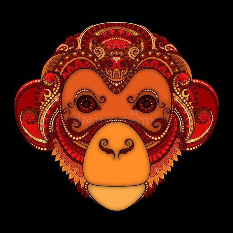 Cabeza adornada del mono del vector Diseño coloreado tribal modelado ilustración del vector