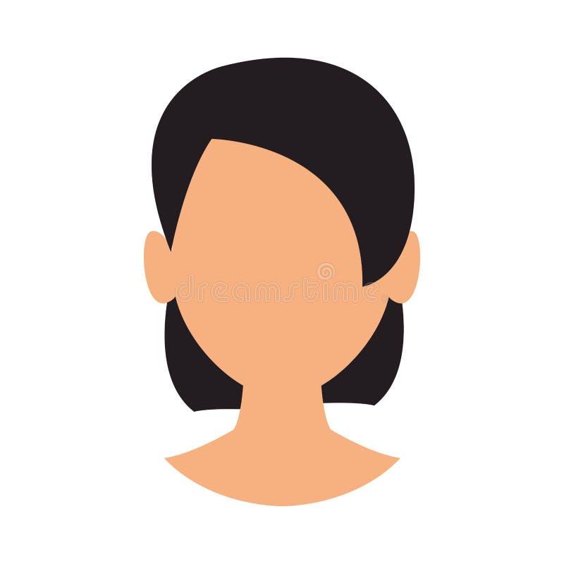Cabeza anónima de la mujer stock de ilustración