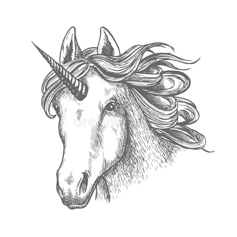 Cabeza animal del unicornio o del cuento de hadas con el cuerno stock de ilustración