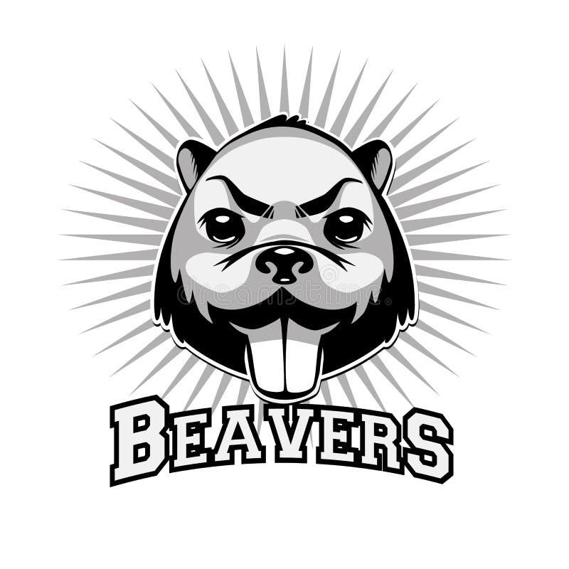 Cabeza blanco y negro del logotipo del castor libre illustration