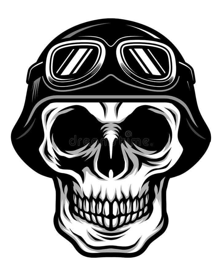 Cabeza clásica detallada del cráneo que lleva el casco retro del motorista y piloto Goggles Illustration stock de ilustración
