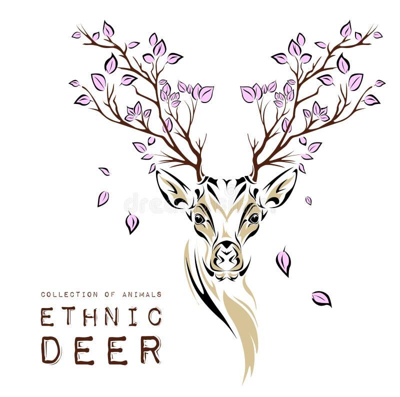 Cabeza coloreada étnica de ciervos con las ramas en los cuernos diseño del tótem/del tatuaje Uso para la impresión, carteles, cam ilustración del vector