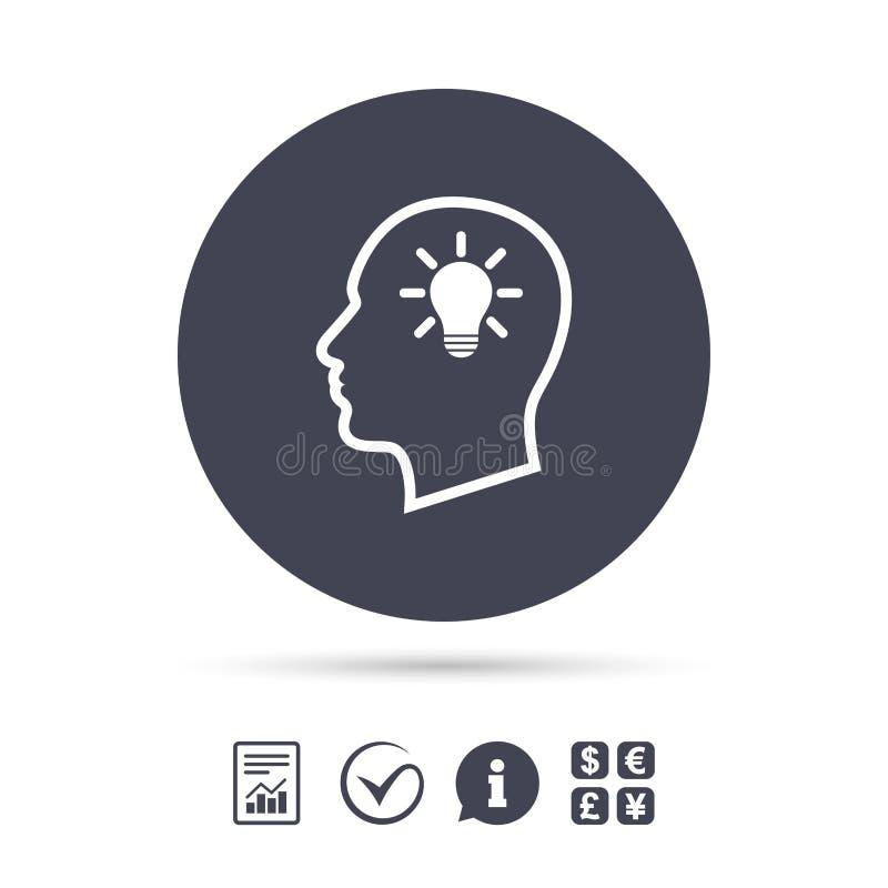 Cabeza con el icono de la muestra del bulbo de lámpara Cabeza humana masculina ilustración del vector