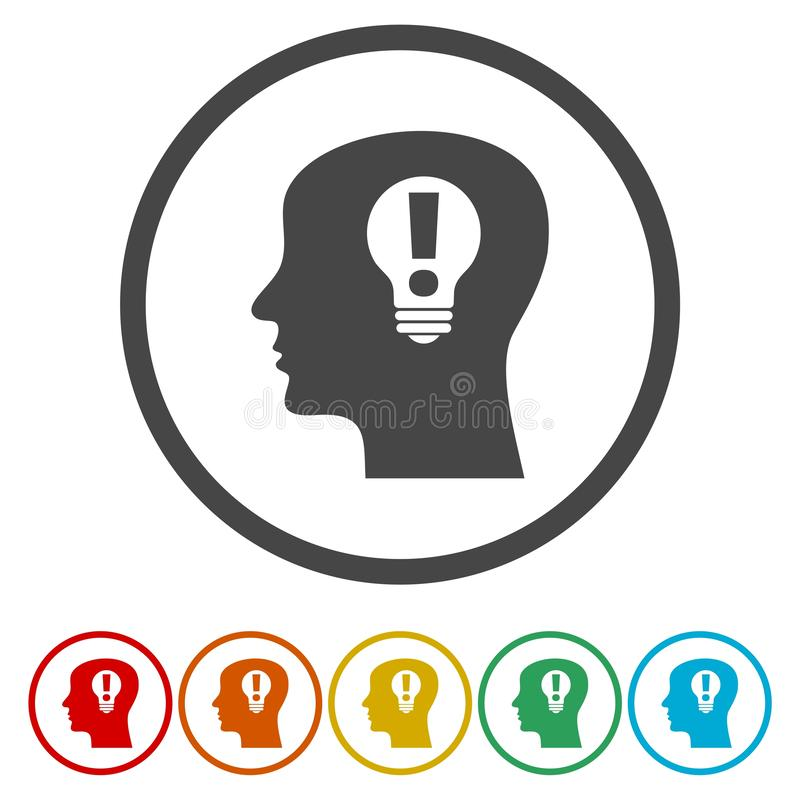 Cabeza con el icono de la muestra del bulbo de lámpara Símbolo masculino de la idea de la cabeza humana stock de ilustración