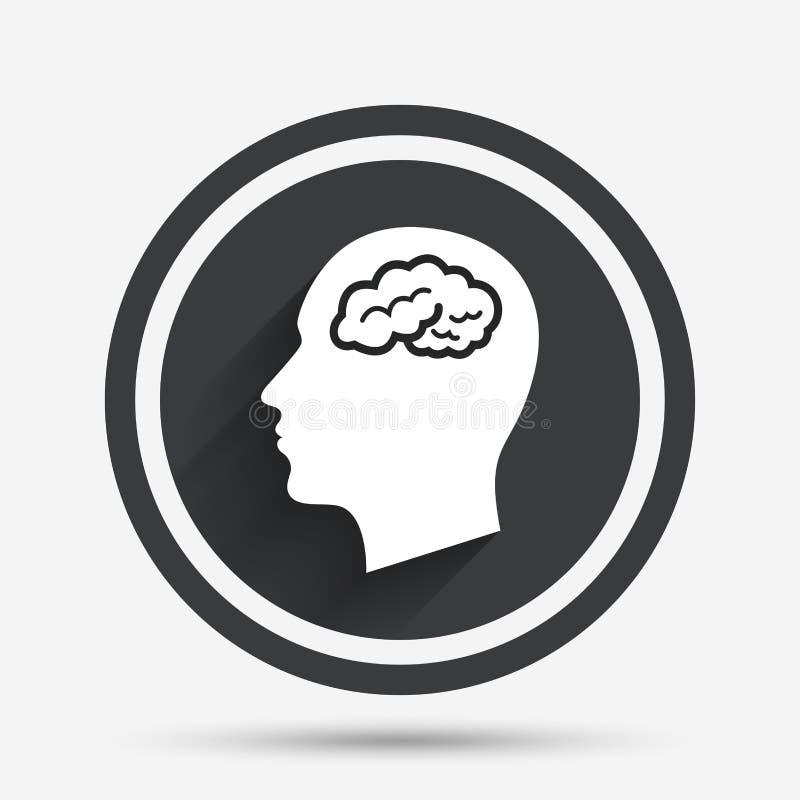 Cabeza con el icono de la muestra del cerebro Cabeza humana masculina stock de ilustración