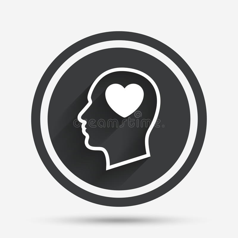 Cabeza con el icono de la muestra del corazón Cabeza humana masculina stock de ilustración