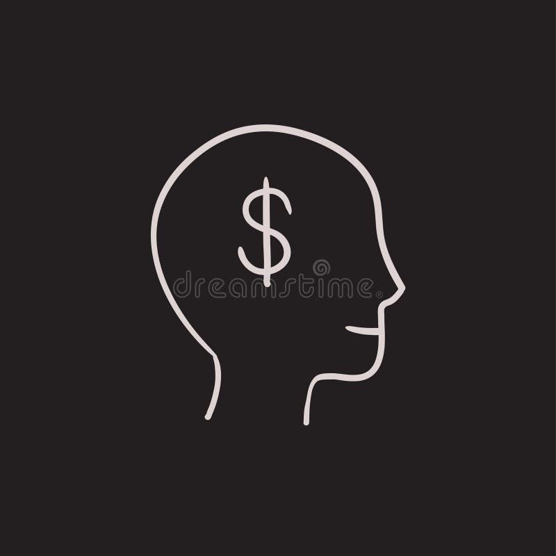 Cabeza con el icono del bosquejo del símbolo del dólar libre illustration