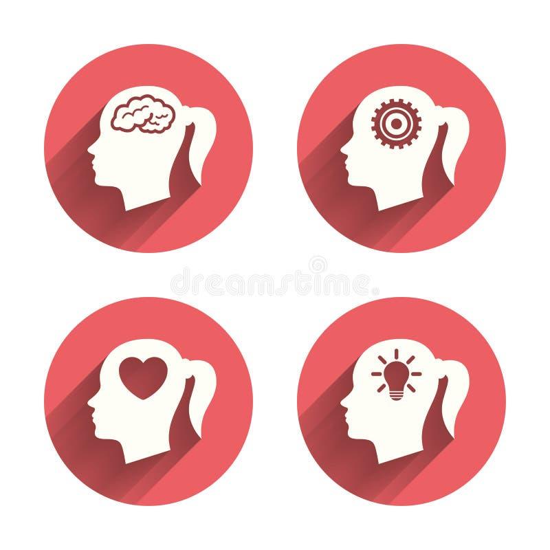 Cabeza con el icono del cerebro Símbolos femeninos de la mujer libre illustration
