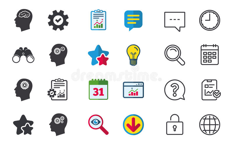 Cabeza con el icono del cerebro Símbolos humanos masculinos stock de ilustración
