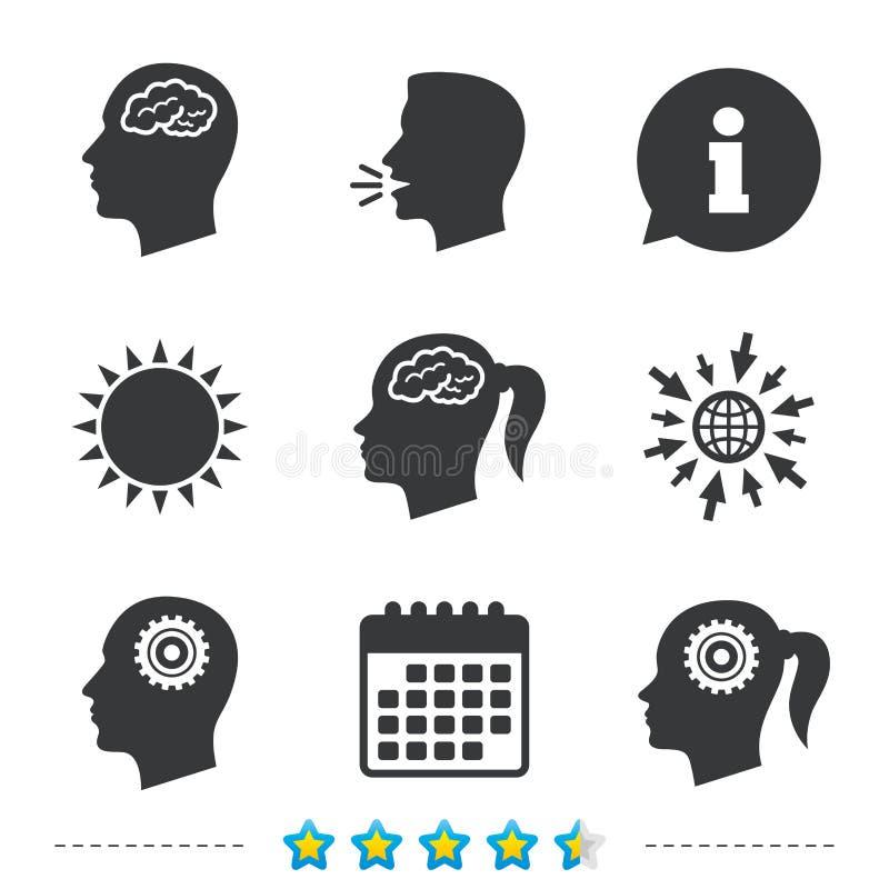 Cabeza con el icono del cerebro Varón y símbolos humanos femeninos ilustración del vector