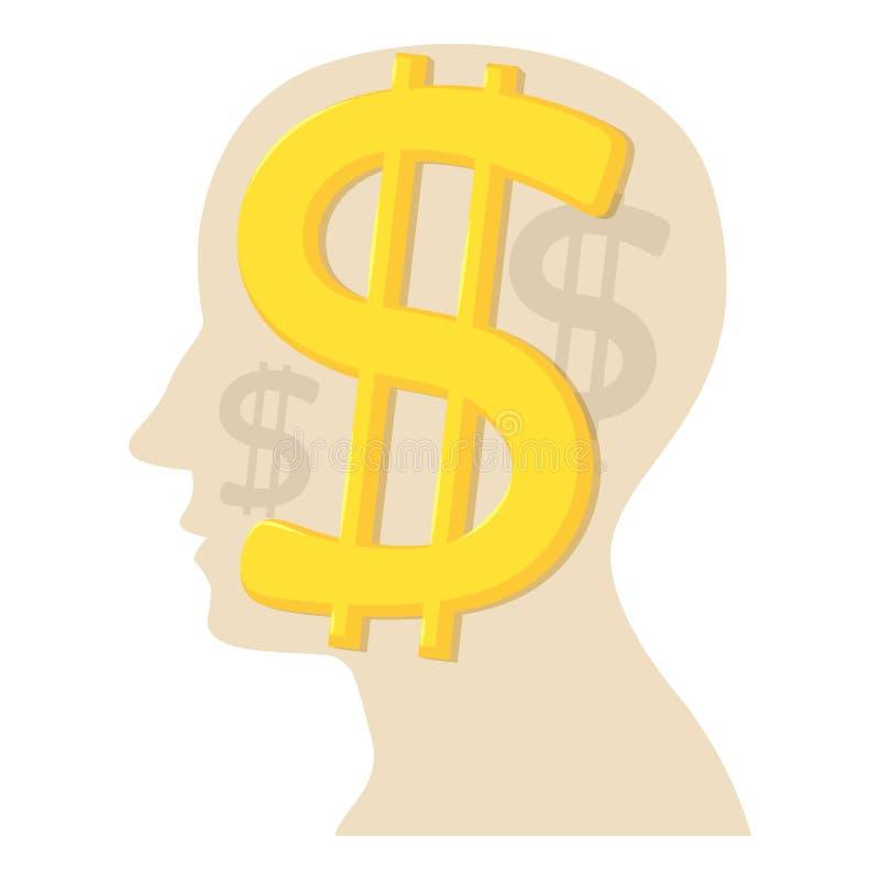 Cabeza con el icono del dólar, estilo de la historieta ilustración del vector
