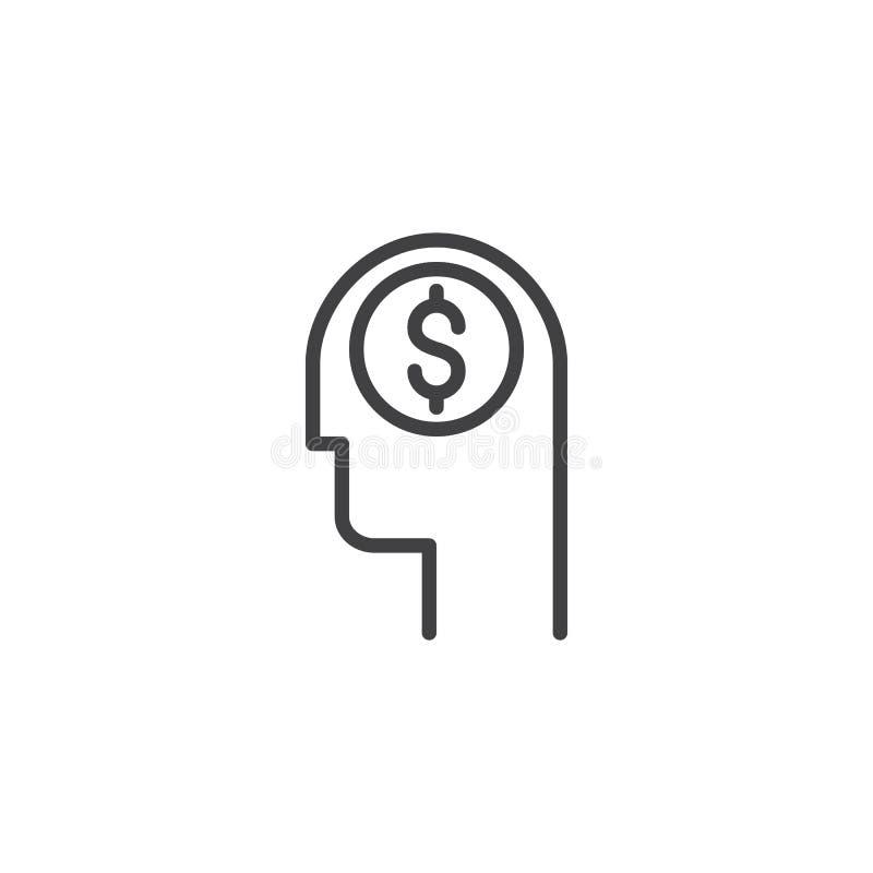 Cabeza con el icono del esquema del dólar ilustración del vector