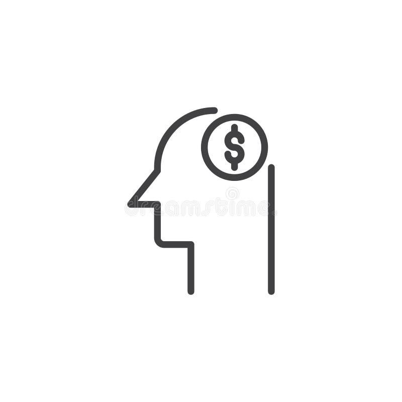 Cabeza con el icono del esquema del símbolo del dólar stock de ilustración