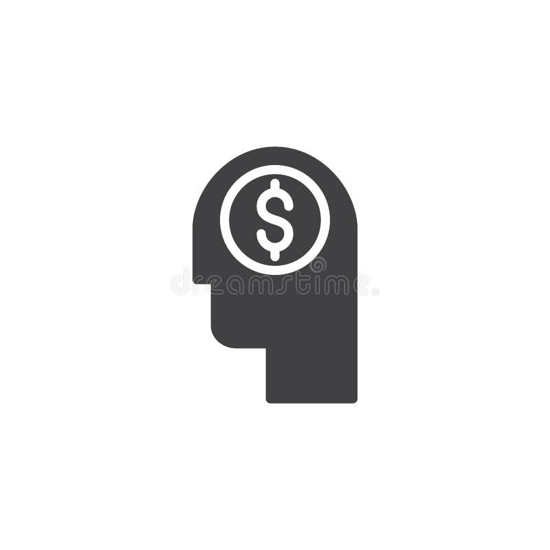 Cabeza con el icono del vector del dólar ilustración del vector