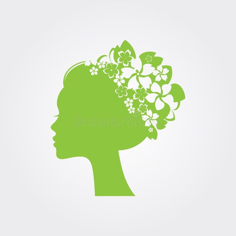 Cabeza con las flores en pelo, concepto de la mujer del balneario stock de ilustración