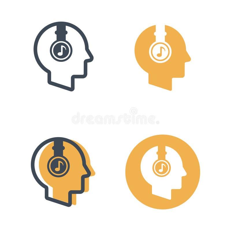 Cabeza con los auriculares cuatro iconos del vector de los estilos ilustración del vector