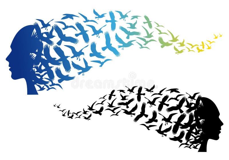 Cabeza con los pájaros de vuelo, vector libre illustration