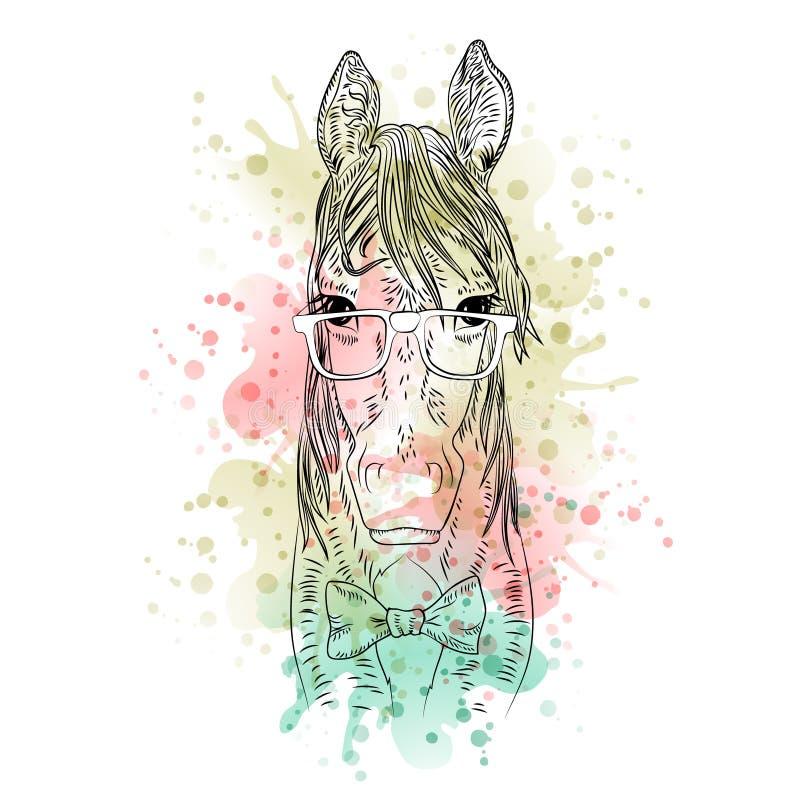 Cabeza de caballo animal blanco y negro, arte abstracto de la acuarela, tatuaje, bosquejo del garabato stock de ilustración