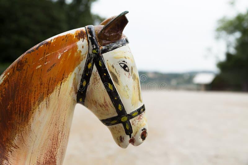 Cabeza de caballo antigua de madera, Aviñón foto de archivo libre de regalías