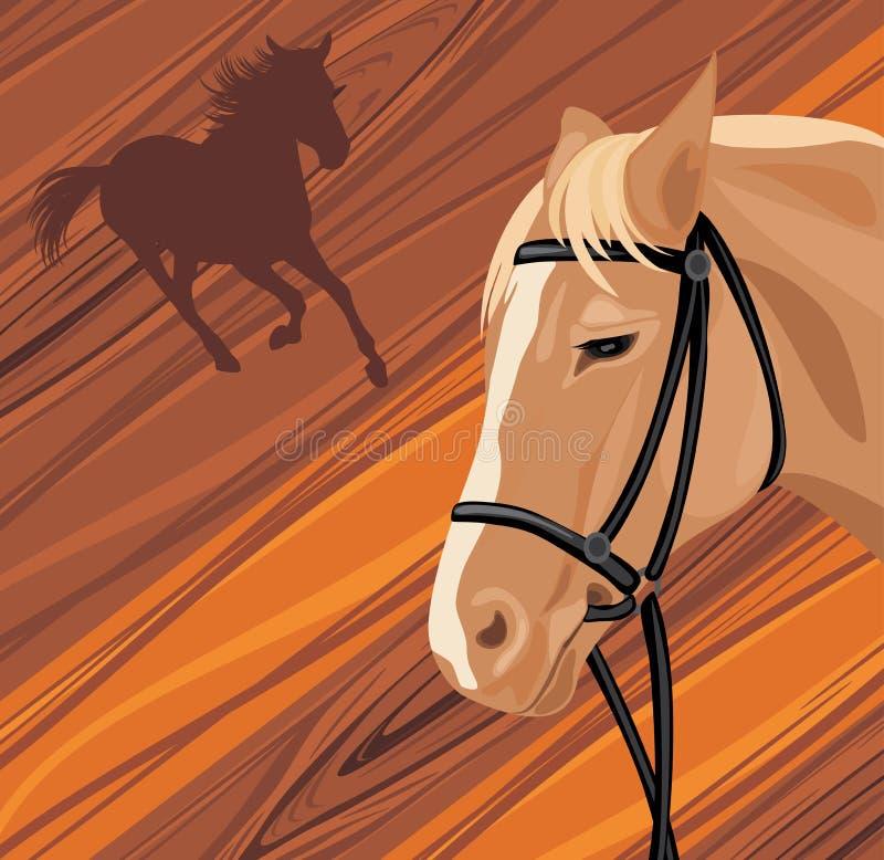 Cabeza de caballo en el fondo de madera ilustración del vector