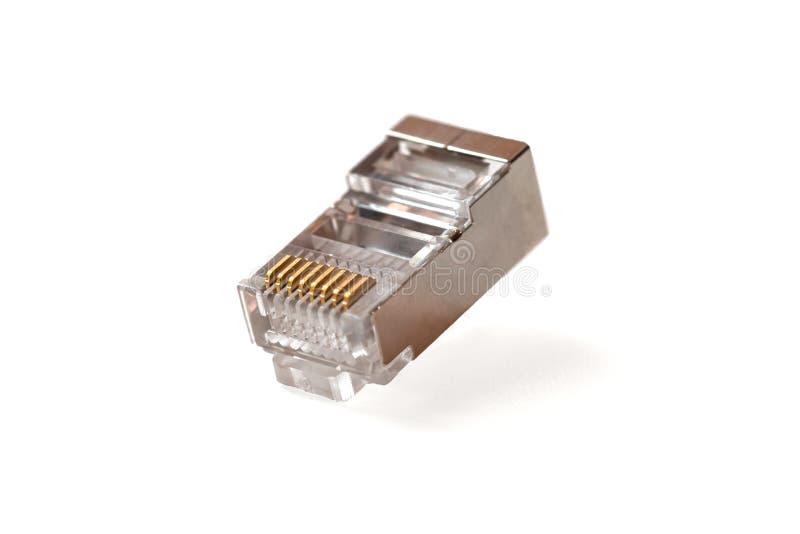 Cabeza de cable en la cabeza rj45, red, RJ45, enchufe fotografía de archivo