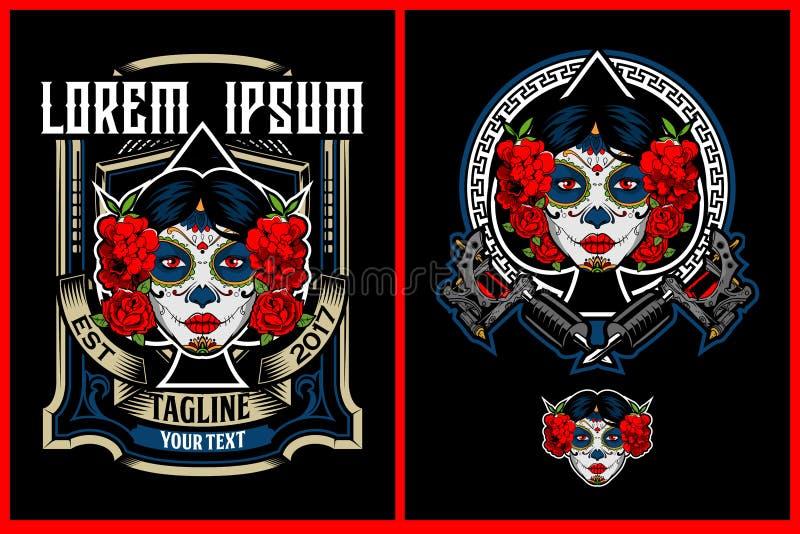 Cabeza de Calavera Catrina o cráneo impresionante del caramelo con vector de la máquina del tatuaje libre illustration