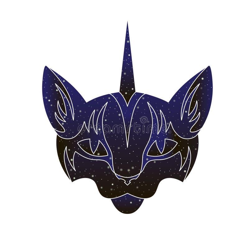 Cabeza de Cat Unicorn Línea ejemplo animal del caticorn, silueta del vector del color del cielo nocturno aislada en el fondo blan ilustración del vector