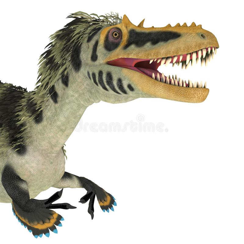 Cabeza de dinosaurio Alioramus altai fotos de archivo
