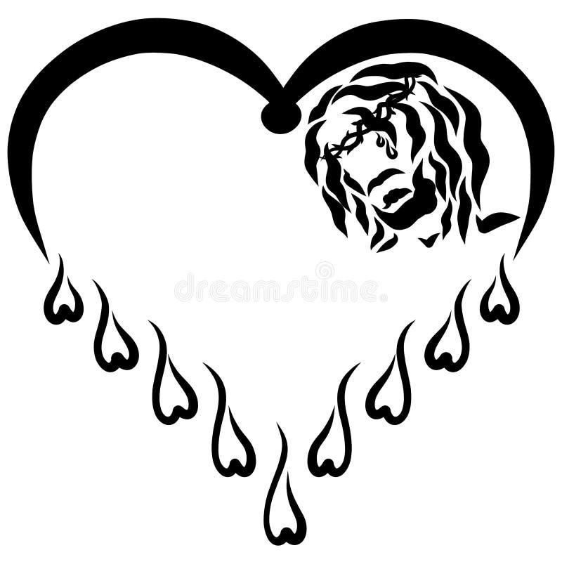 Cabeza de Jesus Christ en la corona de espinas en el corazón stock de ilustración