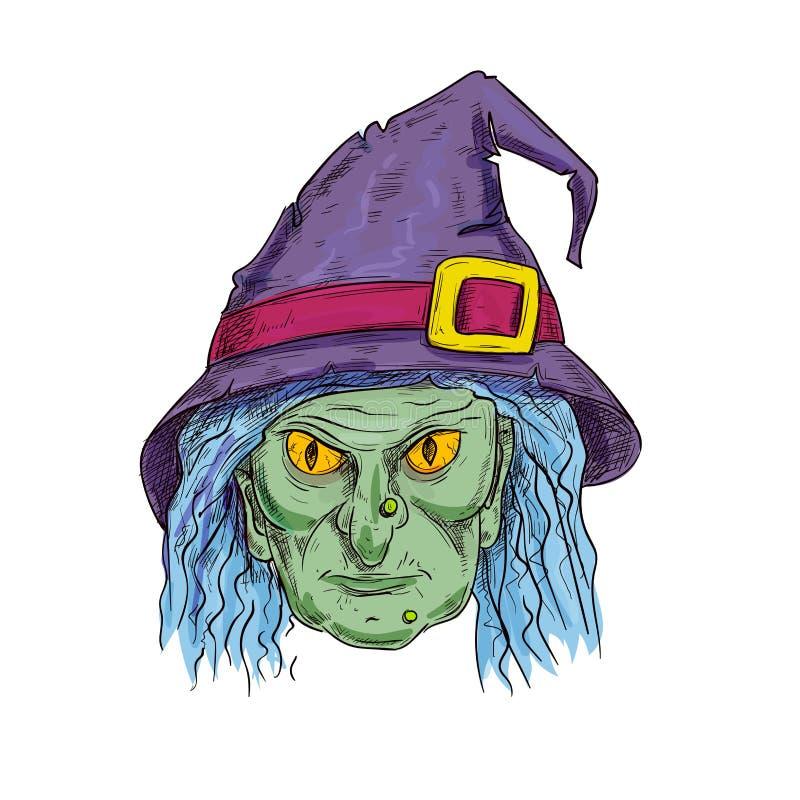 Cabeza de la bruja en icono del bosquejo del sombrero del hechicero stock de ilustración