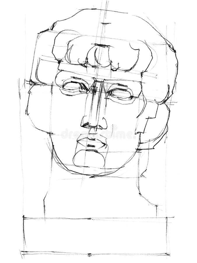 Cabeza de la escultura de Antinous del dibujo libre illustration