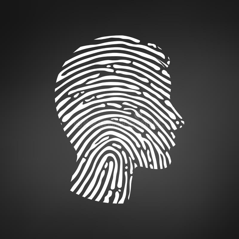Cabeza de la huella dactilar del símbolo, línea blanca de la muestra de la huella dactilar, ejemplo del vector aislado en fondo n libre illustration