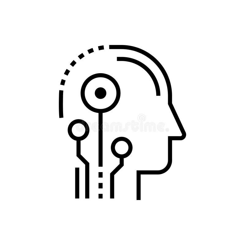 Cabeza de la inteligencia artificial - alinee el solo icono aislado del diseño libre illustration