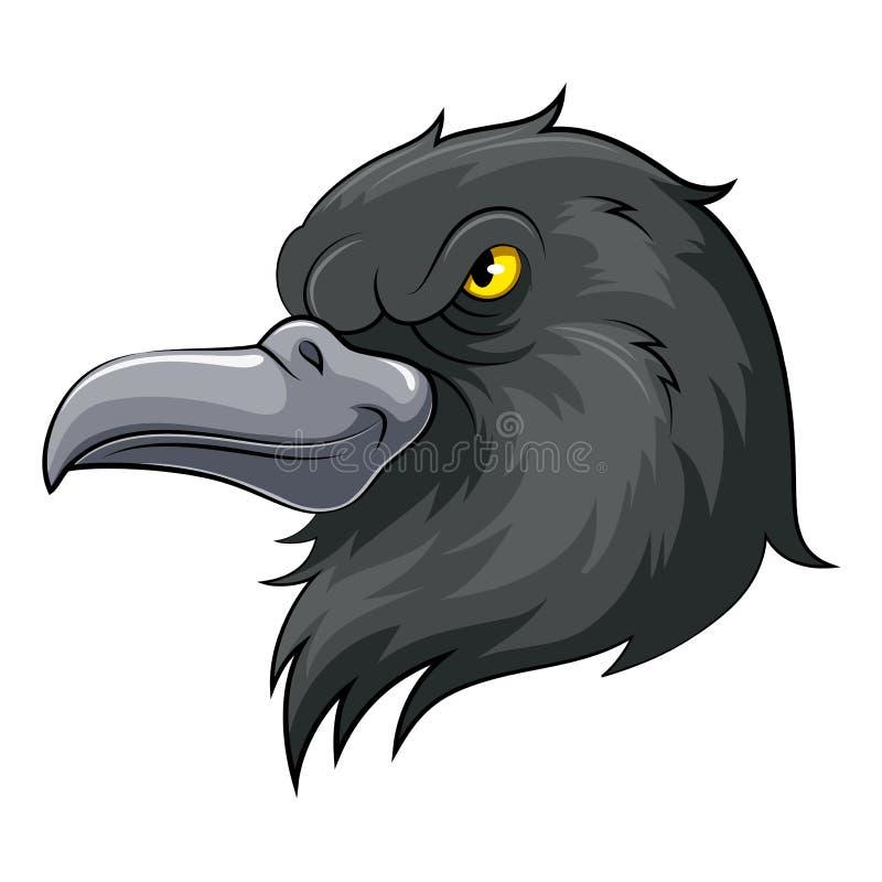 Cabeza de la mascota de un cuervo negro ilustración del vector