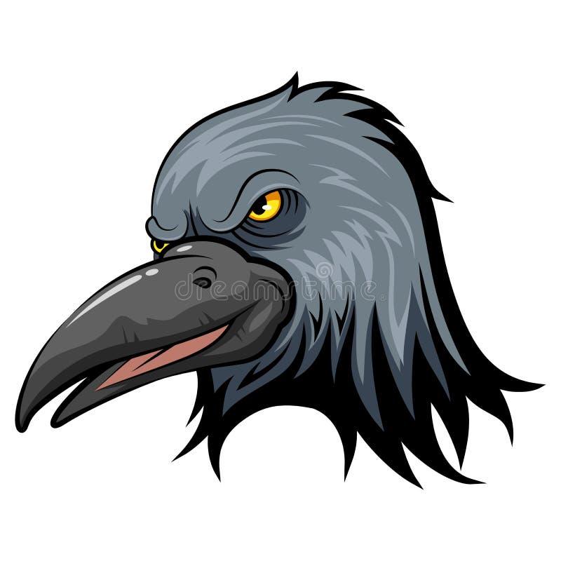 Cabeza de la mascota de un cuervo stock de ilustración