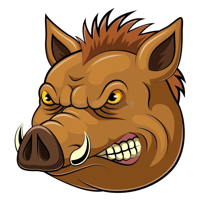 Cabeza de la mascota de un jabalí stock de ilustración