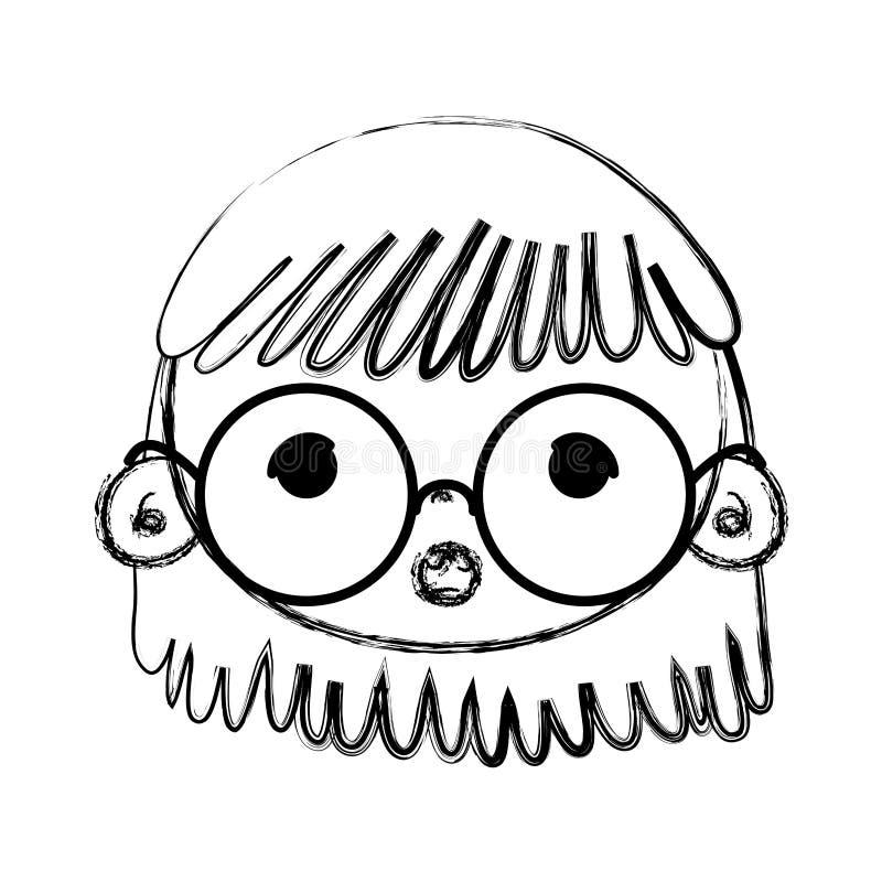 Cabeza de la muchacha de la belleza del Grunge con los vidrios y el peinado libre illustration