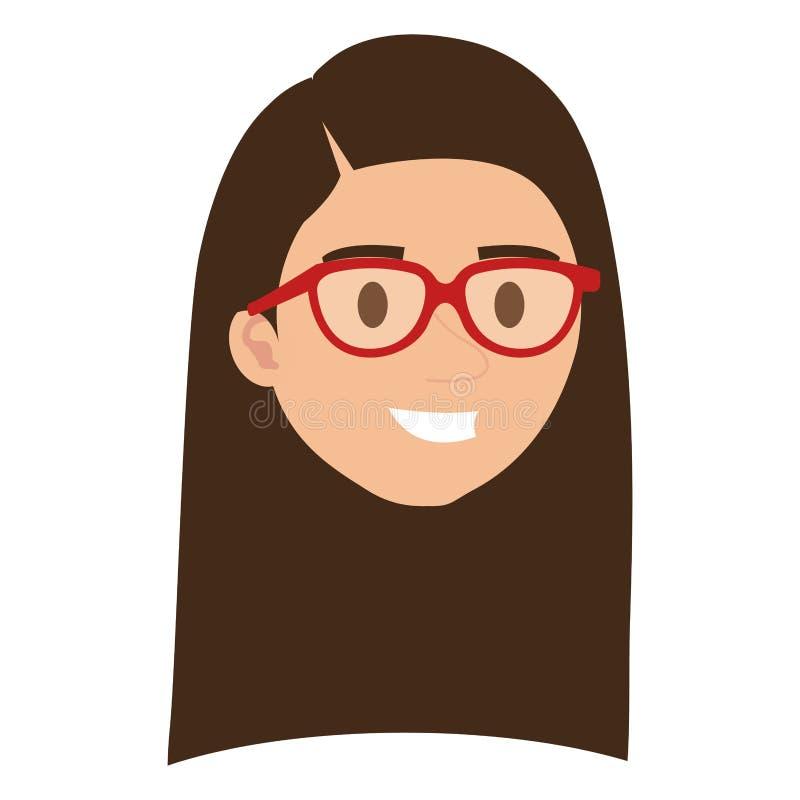 Cabeza de la mujer joven con el carácter de los vidrios libre illustration