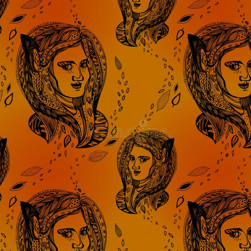 Cabeza de la mujer, modelo inconsútil del vector del retrato lindo de la muchacha Bollos del espacio, pelos trenzados, trenzas Mo stock de ilustración