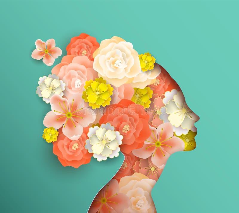 Cabeza de la mujer de Papercut con las flores de la primavera stock de ilustración