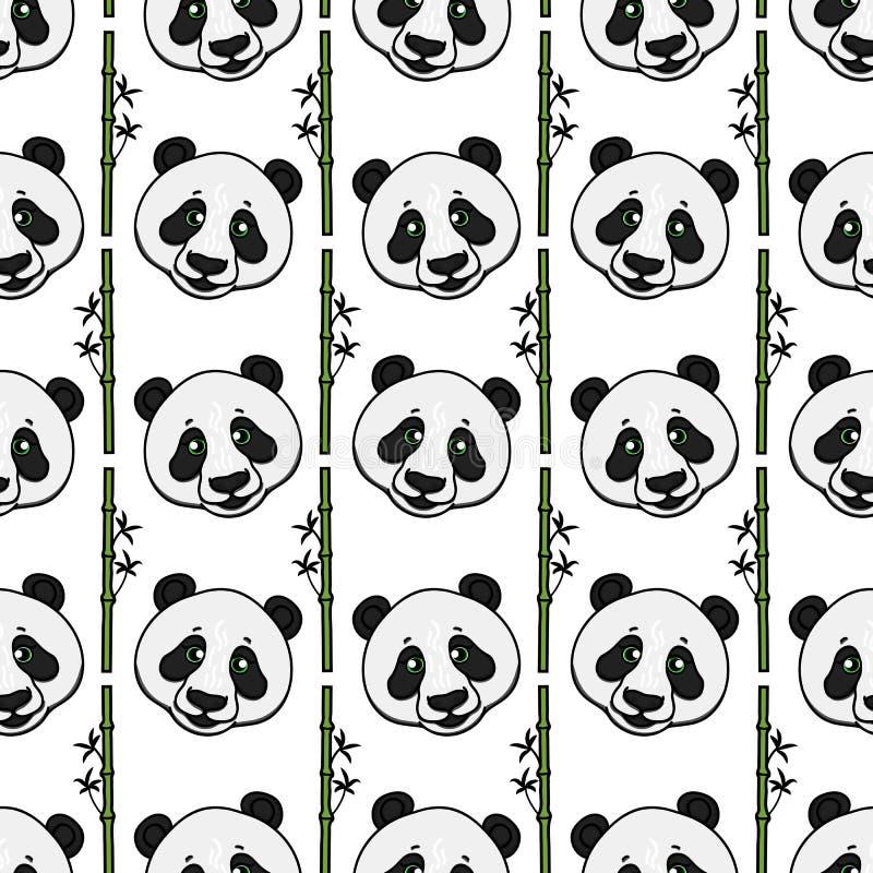 Cabeza de la panda con el modelo inconsútil de las tiras de bambú Ejemplo dibujado mano del vector aislado en blanco ilustración del vector