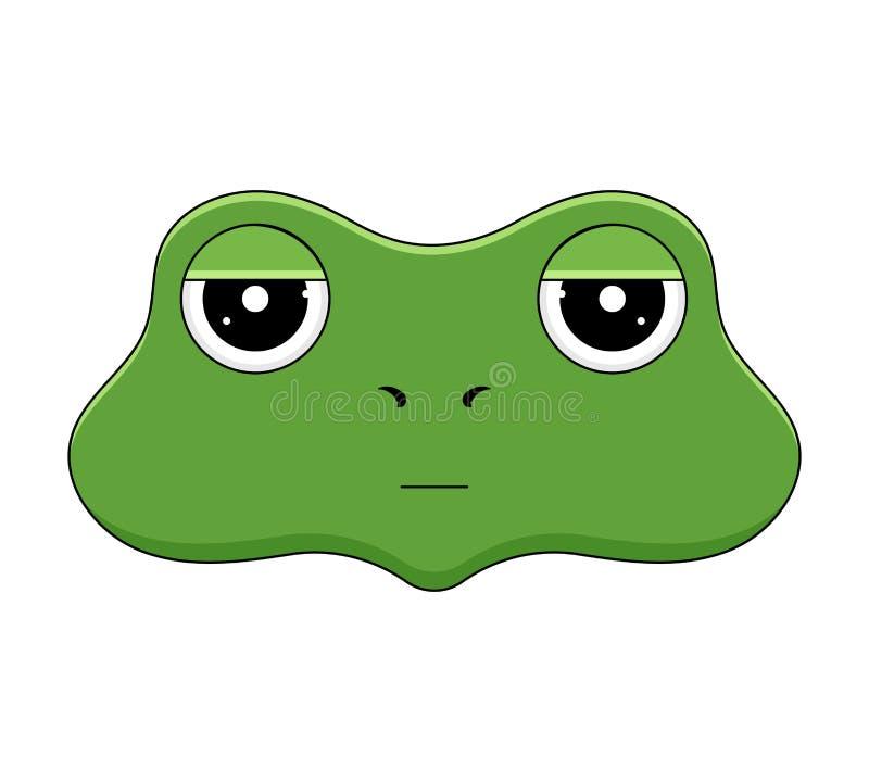 Cabeza de la rana enfadada en estilo de la historieta Animal de Kawaii stock de ilustración